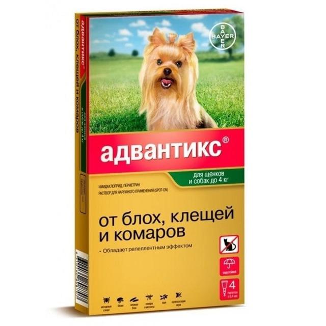 Адвантикс для собак - инструкция по применению, отзывы, цена