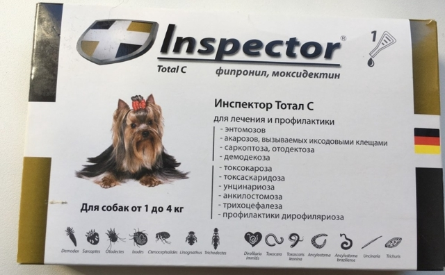 Инспектор капли для собак инструкция по применению, от глистов, от клещей, отзывы